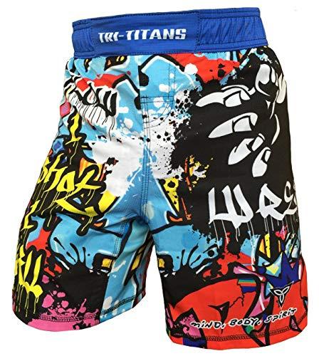 TRI-TITANS Graffiti Wrestling MMA BJJ Blue Fight Shorts for Boys (Youth Sizes) (Youth L (2XS): Waist 24'-26')