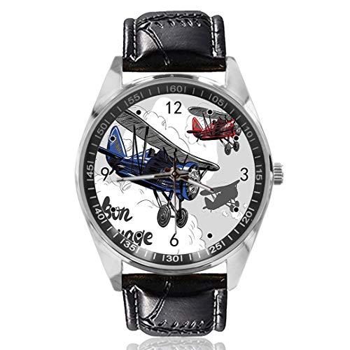 Vliegtuig Poster Polshorloge Aangepast Ontwerp Analoog Quartz Horloges Zilveren Wijzerplaat Klassieke Lederen Band Dames Horloge