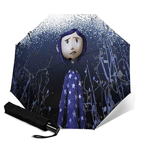 Cora-Line Paraguas automático de tres pliegues impermeable y protector solar, resistente y duradero, puede abrir y cerrar automáticamente protección UV paraguas de viaje plegable