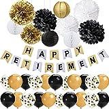 42 PCS Black Gold Retirement Party Decorations Set Happy Retirement Banner 12 pulgadas Latex Globos Tissue Pom Poms Flores Linternas de papel Decoraciones para jubilados Suministros para fiestas