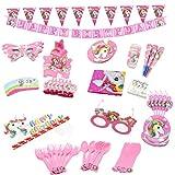 Nicetruc Lindo Fiesta Caballo Set con Parte Juego Desechable Fiesta De Cumpleaños Rosa Vajilla Decoración Colgante Kit (Conjunto del Partido)