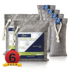 Nature Fresh Air Purifier Bags - Activated Charcoal Bags Odor Absorber, Odor Eliminator for House, Shoe Deodorizer, Car… 1 MEGA-VALUE ODOR NEUTRALIZER 6-PACK: The Kisx activated charcoal bags set is here to give you more bang for your buck and help you keep your home smelling great. Our charcoal bags odor absorber set is versatile for all spaces. NATURAL AIR PURIFIER BAGS FOR 24/7 FRESHNESS: Now you can breathe fresh air with our odor absorbers for home. Unlike plug-in deodorizers for home or any chemical-packed air deodorizer for home, our air purifying charcoal bags are made from 100% pure bamboo. GET RID OF FOUL ODORS ONCE & FOR ALL: Looking for a room deodorizer for home to eliminate unpleasant smells? Our charcoal air purifiers can be used as a natural air freshener, dog odor eliminators for home, car deodorizers or closet air freshener.