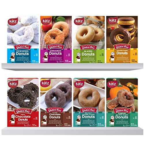 Katz Gluten Free Snacks Top 8 Donut Flavors | Gluten Free, Dairy Free, Soy Free, Nut Free | Powdered, Glazed, Cinnamon, Chocolate Frosted & More | Kosher (1 Pack of each, 8 Total)