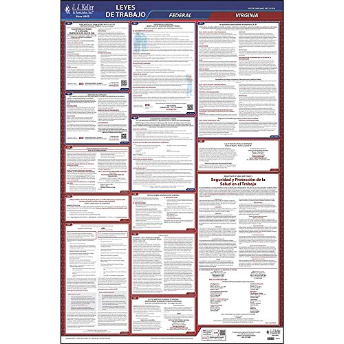 2021 Virginia State and Federal Labor Law Poster (Spanish, VA State) - OSHA Compliant All-in-One Laminated Poster - J. J. Keller & Associates