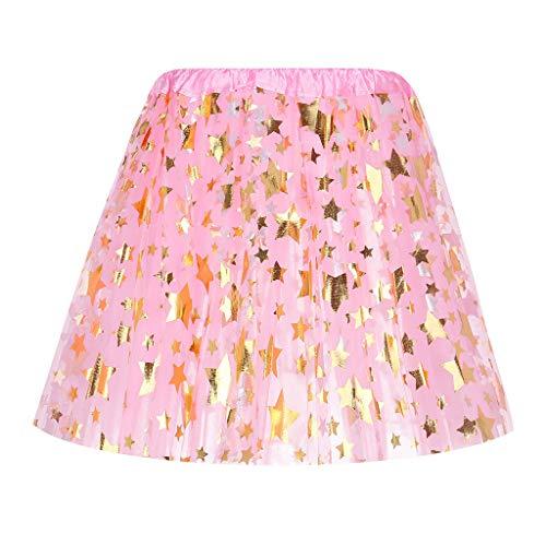 Xmiral Mädchen Tutu Rock Sterne 5 Lagen Tüll Rock Ballett Kostüm Tanzen Kinder Petticoat Baby 50er Blase Firt Tulle Erwachsene Rockabilly Tutu(Rosa,One Size)