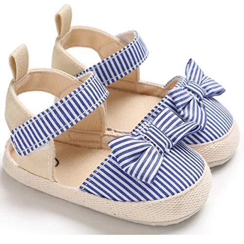 Primeros Pasos Zapatos de Bebé Zapatos de Cuna de Verano con Lazos de Rayas Suaves Suela Antideslizante para Bebés de 0 a 18 Meses