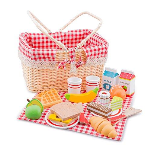 New Classic Toys - 10590 - Kinderrollenspiele - Schneideset Picknickkorb - 27 Teile