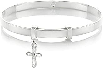 Molly B London 925 Sterling Silver Cherish 1pt Diamond Cross Baptism Toddler Baby's Bangle Arrives with Luxury Gift Box