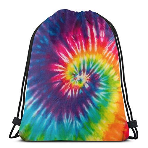 LOKIDVE Women's Tie Dye Drawstring Backpack Bags Sport Beach Daypack With Zipper Pockets Gift