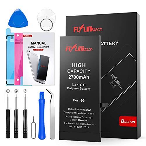 Batería para iPhone 6 2700mAH con 50% más de Capacidad Que la batería Origina, FLYLINKTECH Reemplazo de Alta Capacidad Batería para iPhone 6 con Kits de Herramientas de reparación, Cinta Adhesiva