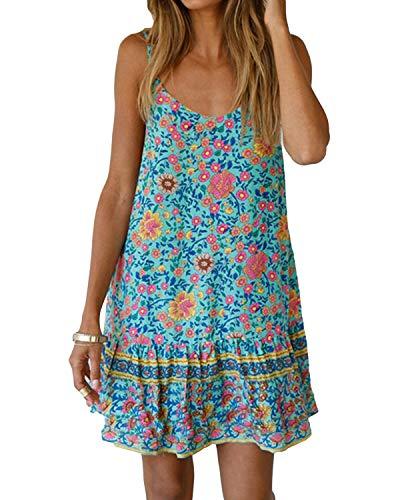 Kidsform Damen Strandkleid Boho Tunika Sommerkleid V-Ausschnitt Blumenkleid Lose T-Shirt Kleid Floral Minikleid Grün S