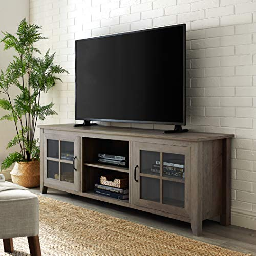 """Walker Edison Furniture Company Modern Farmhouse Glass and Wood Stand with Cabinet Doors for TV's up to 80"""" Living Room Storage Shelves Entertainment Center, 70 Inch, Grey Wash"""