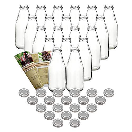 gouveo 20er Set Saftflasche 500 ml inkl. Schraubverschluss Silber, Likörflasche, Schnapsflasche