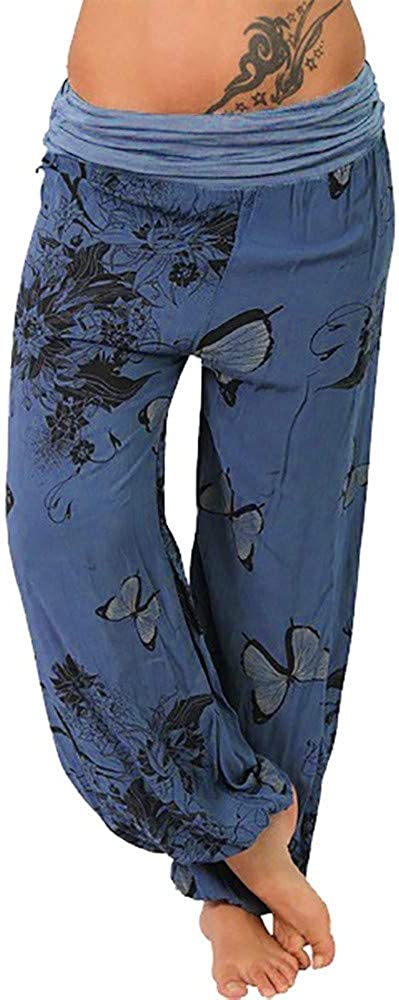Women Casual shipfree Butterfly Print Wide Lowest price challenge Button Loose Leg Palazz Pocket