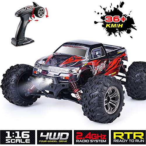 Remote Control Car RC Truck Chargeable RC Car 4WD 1/16 RC Monster Truck 2.4Ghz High Speed 36 km/h for All Adults & Kids (Red)