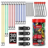 """SEDY 30-Pieces Premium Bungee Cords Assortment Jar, Includes 10"""", 18"""", 24"""", 32"""", 40"""" Bungee Cords & 8"""" Canopy/Tarp Ball Ties & 4 Crocodile Mouth Tarp Clips"""