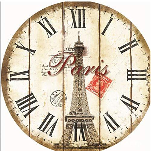 Hyllbb Mode Européenne Style Paris Tour Horloge Murale Design Moderne en Bois Suspendu Vintage Silencieux Mur Décor Big Watch 30cm