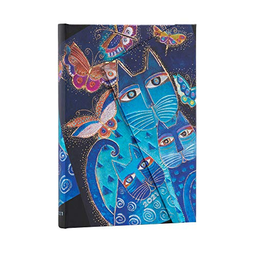 Paperblanks 12-Monatskalender 2021 Katzen in Blau mit Schmetterlingen | Horizontal | Midi (130 × 180 mm)