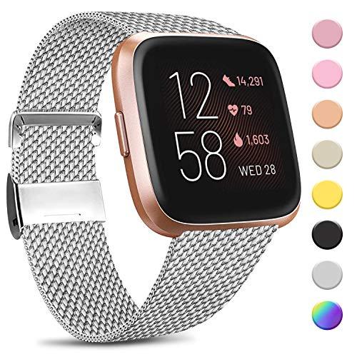 Amzpas Kompatibel mit Fitbit Versa Armband/Fitbit Versa 2 Armband, Metall Edelstahl Handgelenk Ersatzband Armbänder Kompatibel mit Fitbit Versa/Versa 2/Versa Lite (L, Silber)