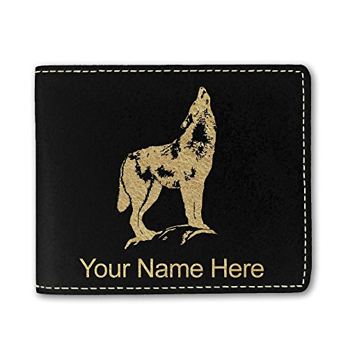 Faux Leather Wallet, Howling Wolf, Personalized Engraving Included (Black)