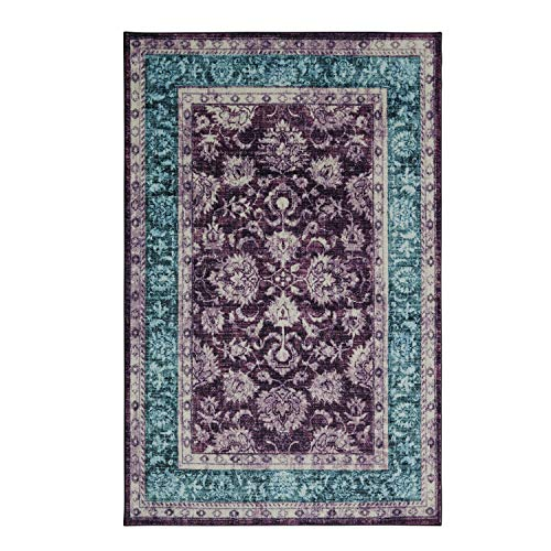 Mohawk Home Prismatic Worcester Purple Distressed Floral Precision Printed Area Rug, 5'x8', Purple and Blue