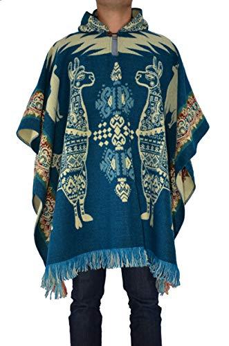 Handmade Ecuadorean Alpaca Wool Poncho, Light Blue Alpaca Pattern …