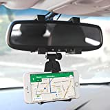 Cellet Rear View Mirror Car Mount Bracket Compatible with Apple 12 Pro Max 11 Pro Max Xs Xr Xs Max X 8 + Samsung Note 10 10+ 9 8 5 Galaxy S20 S10 S10e S10+ S9+ S9 S8+ Google Pixel 5 5XL 4 4XL 3 3XL