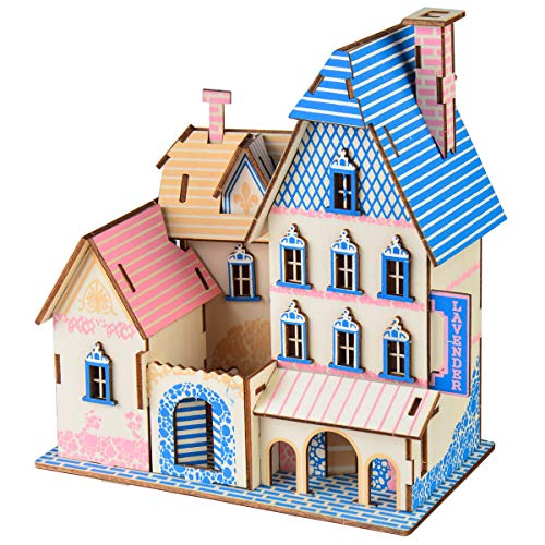 HQdeal 3D Puzzles, 3D Wooden Puzzle Blue and Pink Villas House, DIY Assembly Puzzle,3D Jigsaw Model Gifts, 3D Jigsaw Puzzles for Adults, Teens, Kids,Girls and Boys