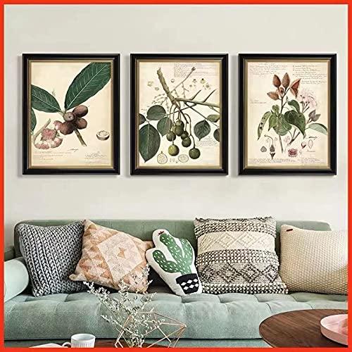 Cuadro de lienzo para decoración de sala de estar con diseño de país americano, fondo de pared, comedor, planta pastoral, 60 x 90 cm x 3 sin marco