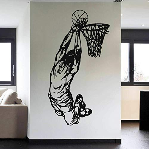 Jugadores De Baloncesto Pegatinas De Pared Equipo Deportivo De Baloncesto Juego De Baloncesto Pegatinas De Pared Vinilo Decoración De Dormitorio Juvenil Póster 107X57Cm