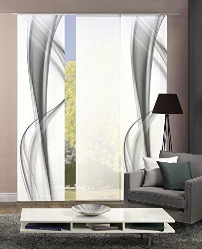 Home Fashion 3er-Set Flächenvorhänge BOURTON, grau   2X Motiv- und 1x Uni-Flächenvorhang   blickdichter Dekostoff   245 x 60 cm   88600-703