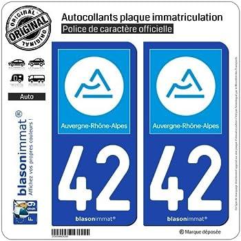 nouveau logo Auvergne Rh/ône Alpes Autocollant Moto immatriculation 42