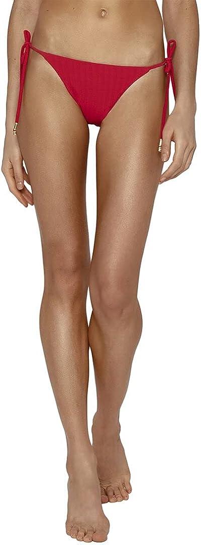 ViX Paula Hermanny Women's Scarlet Long Tie Side Solid Full Coverage Bikini Bottoms