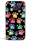 Inspired Cases - 3D Textured Galaxy S6 Case - Rubber Bumper Cover - Protective Phone Case for Samsung Galaxy S6 - Watercolor Paw Prints - Black