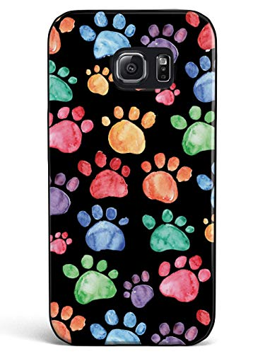 Inspired Cases - 3D Textured Galaxy S7 Case - Rubber Bumper Cover - Protective Phone Case for Samsung Galaxy S7 - Watercolor Paw Prints - Black