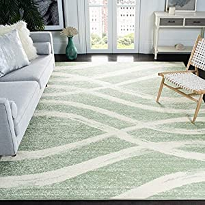 Safavieh Adirondack Collection ADR125X Modern Wave Distressed Non-Shedding Stain Resistant Living Room Bedroom Area Rug, 8′ x 10′, Sage / Cream