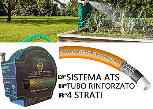 STEELMATES| Manguera De Jardín Extensible 25 Metros Con Conector De Cobre Puro Anti-Torsión 4 Capas Con Interfaces De 5…