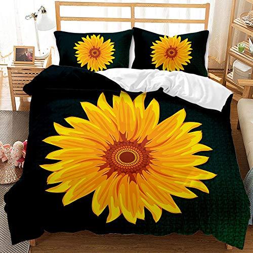 YMYGYR Der perfekte Muttertagsgeschenk-3D-Druck Sonnenblumenmuster Bettbezug Kissenbezug, Bequeme Bettwäsche, Schlafzimmer Apartment dekorieren-EIN_210 x 210 cm (3 Stück)