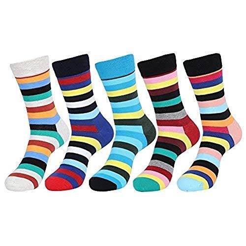 ValueHall 5 Pares Hombre y Mujer Transpirable Hombres Raya Elegante de Algodón Moda Calcetines de Colores Mujeres Estampados Calcetines E611-2