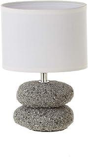 Lámpara de mesita de noche de piedras exótica de cerámica gris de 24 cm - LOLAhome