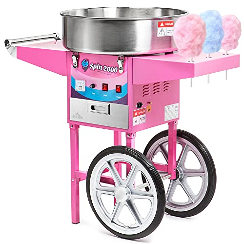 Olde Midway Commercial Quality Cotton Candy Machine Cart and Electric Candy Floss Maker - SPIN 2000