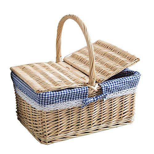 Byx- Picknick Mand - Rotan Picknick Mand Winkelmandje Rieten Gift Fruit Mand Opbergmandje Huishoudelijke Weven Mand (40x19x30cm) -picknickmanden