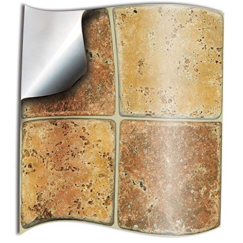 """Tile Style Decals 24 stück Fliesenaufkleber für Küche und Bad NTP08 6"""" Cream & B. S. Mosaik Wandfliese Aufkleber für 15x15cm Fliesen Fliesen-Aufkleber Folie Farbe Folie Farbe für Küche u. Bad"""