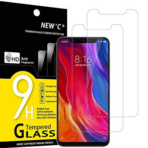 NEW'C 2 Stück, Schutzfolie Panzerglas für Xiaomi Mi 8, Mi 8 Pro, Mi 8 Explorer, Frei von Kratzern, 9H Festigkeit, HD Bildschirmschutzfolie, 0.33mm Ultra-klar, Ultrawiderstandsfähig