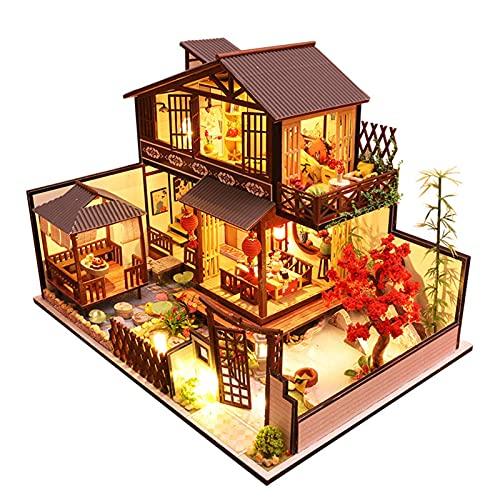 XKUN Handgemachtes Puppenhaus Miniatur, DIY Holz-handgemachtes Miniaturhaus-Modell-Kit, mit selbstmontierten Spielzeuggeschenken, für Jugendliche und Erwachsene-Default