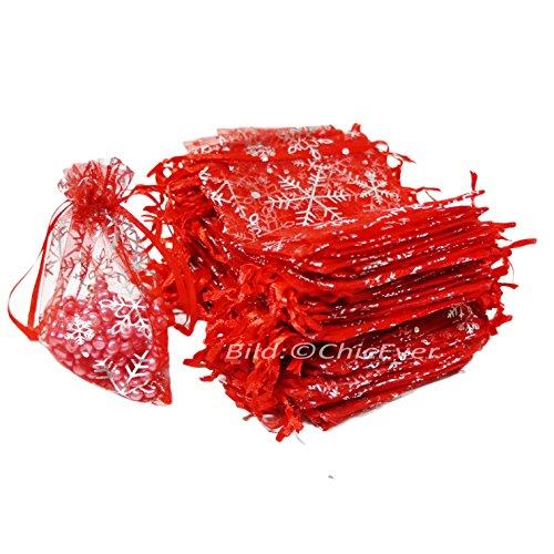 100x Schmuckbeutel 6cmx8cm Schmuck Etui Geschenk Verpackung Organza Säckchen rot Weihnachtsmotiv Schneeflocken
