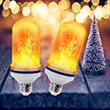 Led Flickering Flame Effect Light Bulb 2 Pack E26, Super 4 Modes with Upside Down Effect, Professional Flame Led Light Bulbs for Christmas Home Hotel Bar Decorations (2 Pack)