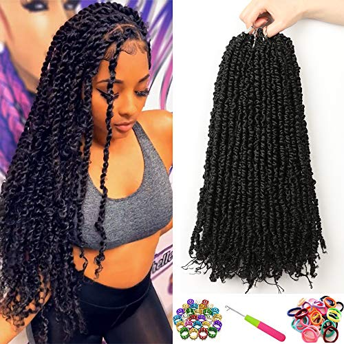 7 Packs Pre-twisted Passion Twist Crochet Hair 18 Inch Passion Twist Hair Pre-looped Passion Twists Crochet Braids Synthetic Braiding Hair Extension (7packs, 1B#)