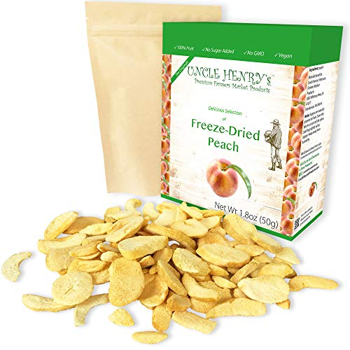 Freeze Dried Peach: Delicious Fruits 1.8oz (50g) Large Bulk Re-Sealable Bag in a Sturdy Protective Box: Taste Like Fresh Peaches, the Ultimate Snack and Breakfast.