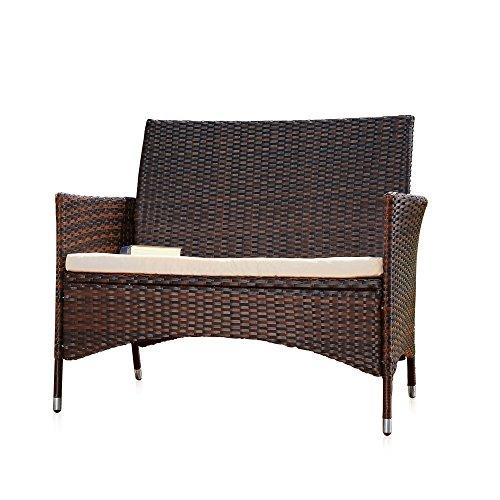 Rattan Gartenbank schwarz/braun mit Auflage Sitzbank Polyrattan Sitzkissen Sofa